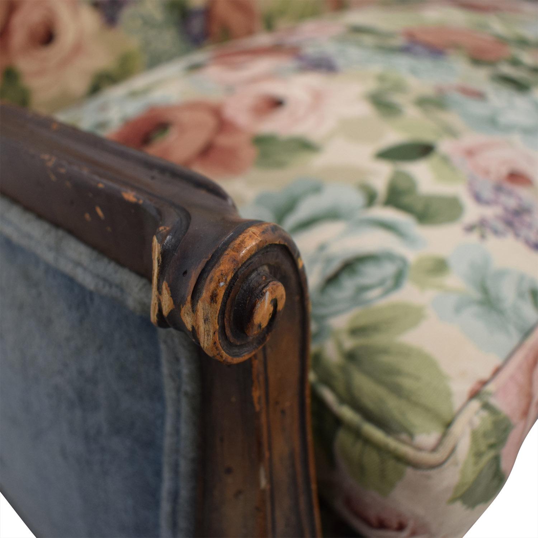 Antique Floral Upholstered Single Cushion Loveseat nj