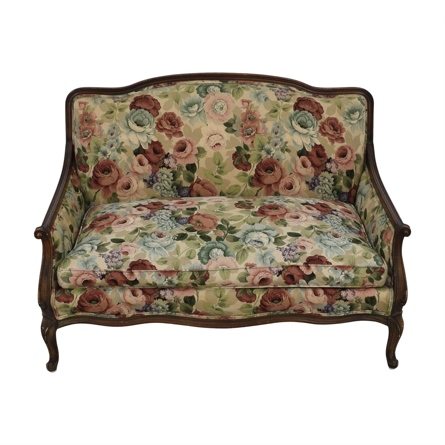 Antique Floral Upholstered Single Cushion Loveseat