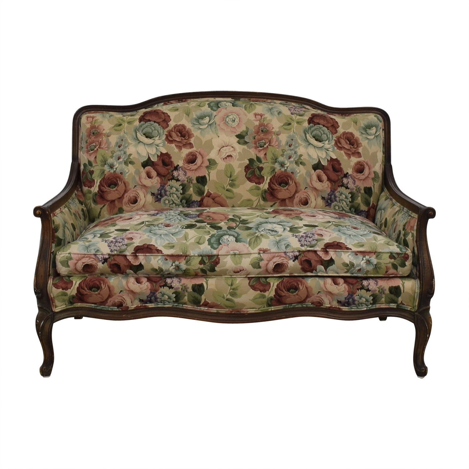 70 Off Antique Floral Upholstered Single Cushion Loveseat Sofas
