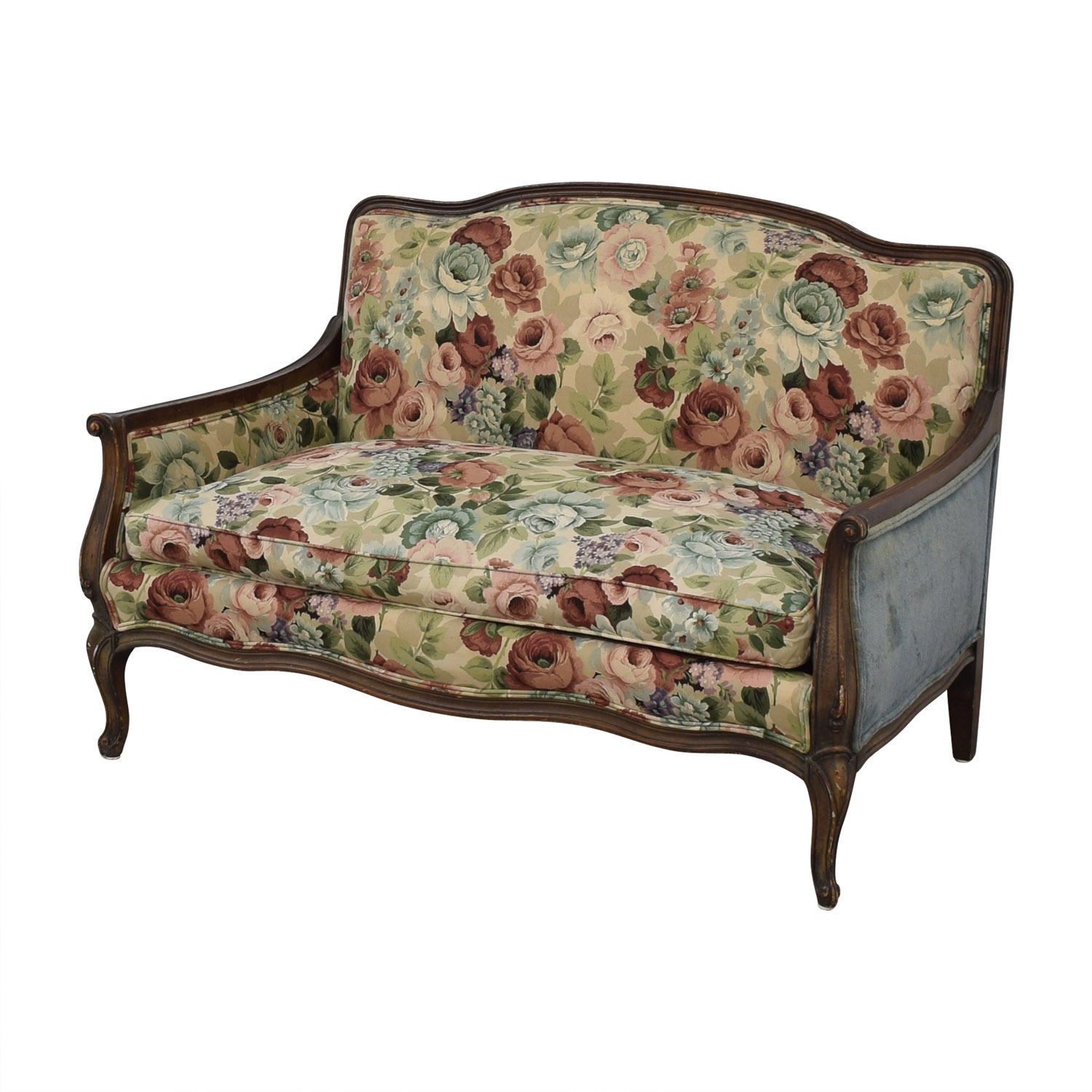 shop Antique Floral Upholstered Single Cushion Loveseat  Loveseats