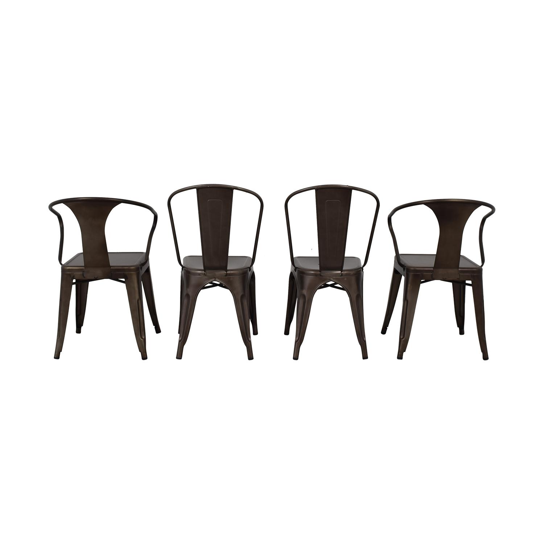 Tabouret Bronze Metal Bistro Chairs