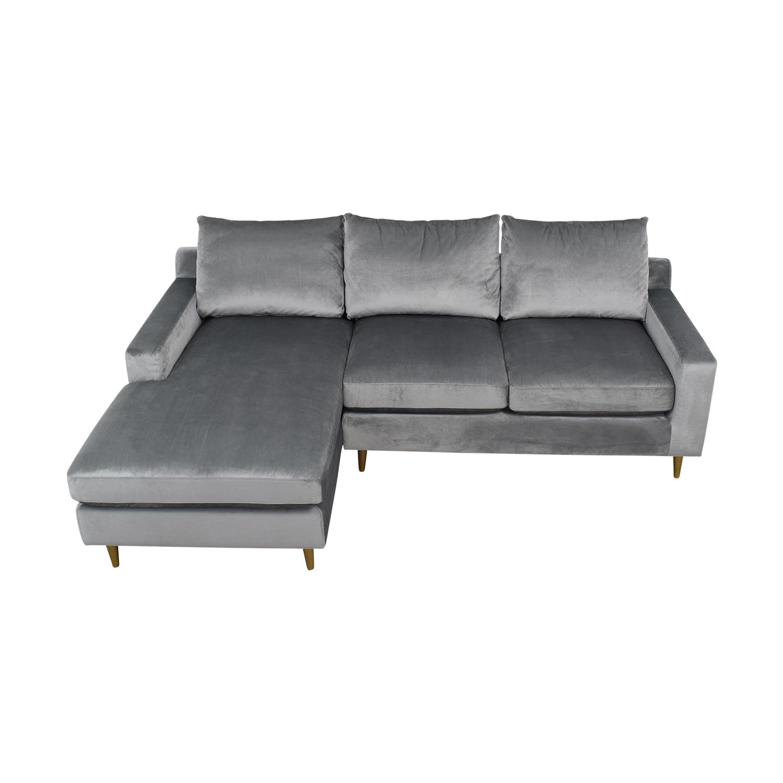 buy Sloan Elephant Grey Velvet Chaise Sectional  Sofas
