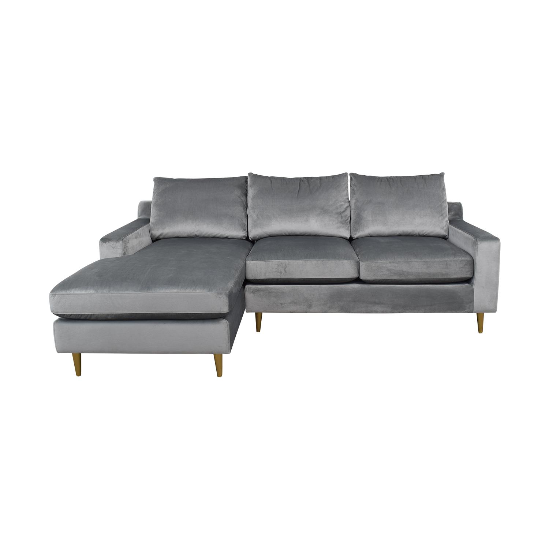 Sloan Elephant Grey Velvet Chaise Sectional used