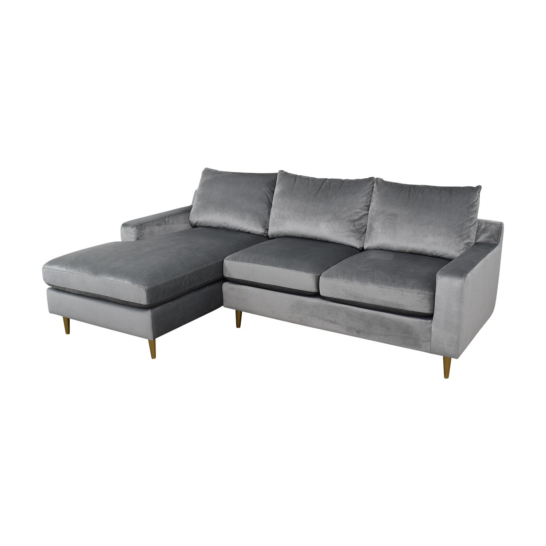 Sloan Elephant Grey Velvet Chaise Sectional on sale