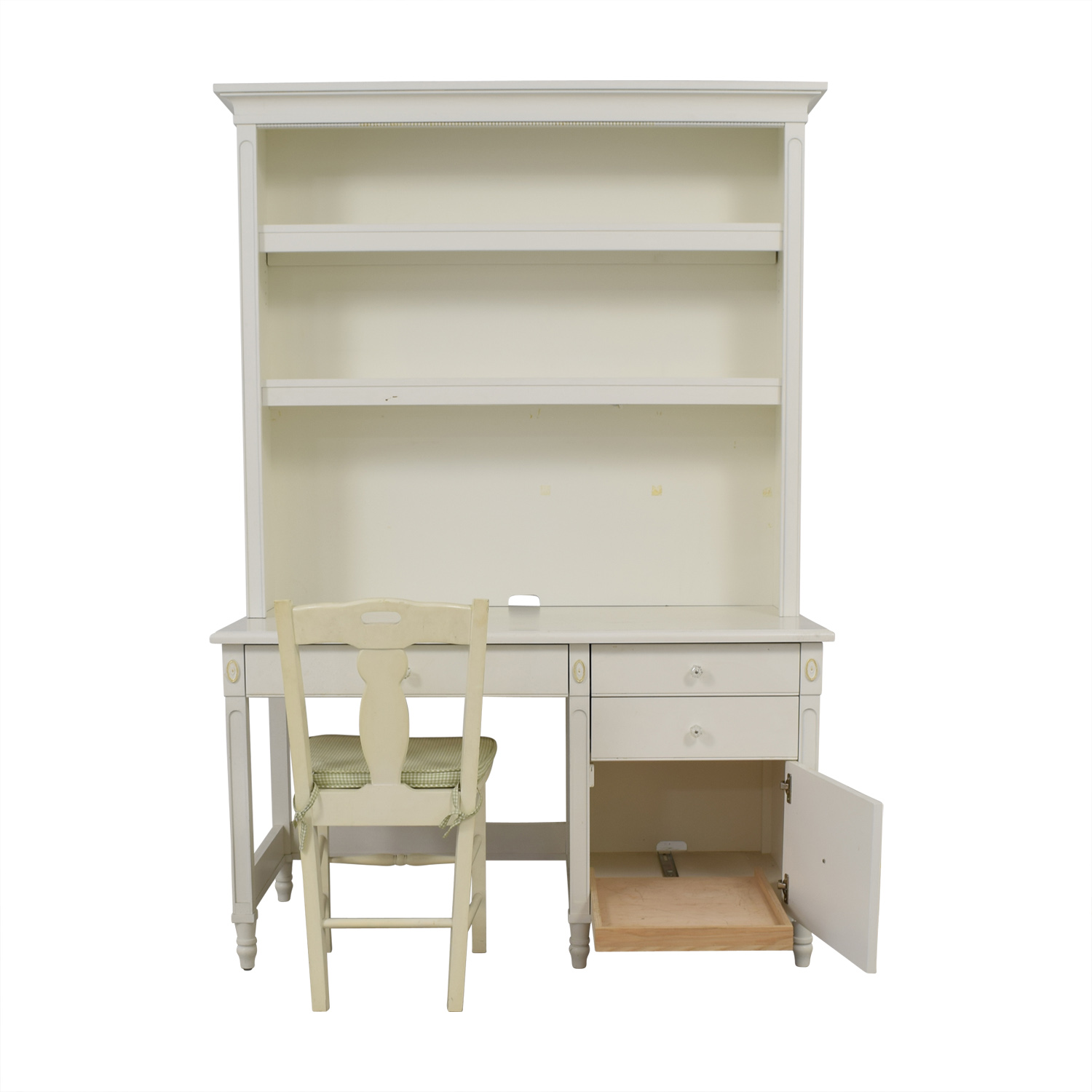 White Three-Drawer Wood Desk and Chair dimensions