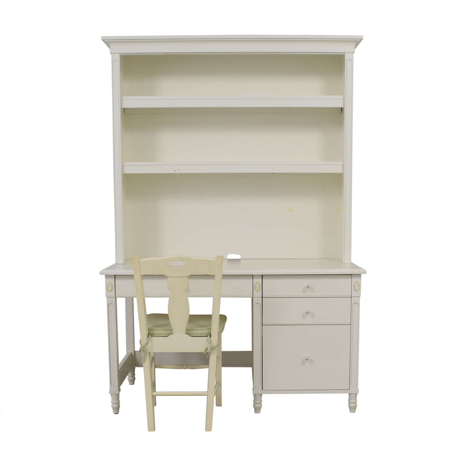 White Three-Drawer Wood Desk and Chair second hand