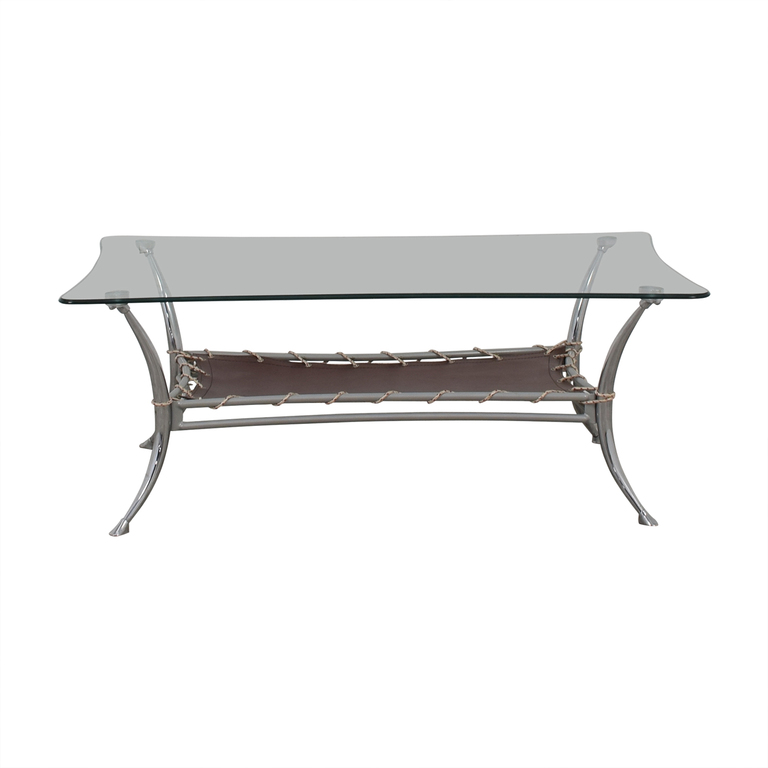 AE Furniture Glass and Metal Coffee Table / Tables