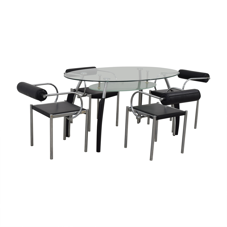 shop AE Furniture Black Glass and Chrome Dining Set AE Furniture