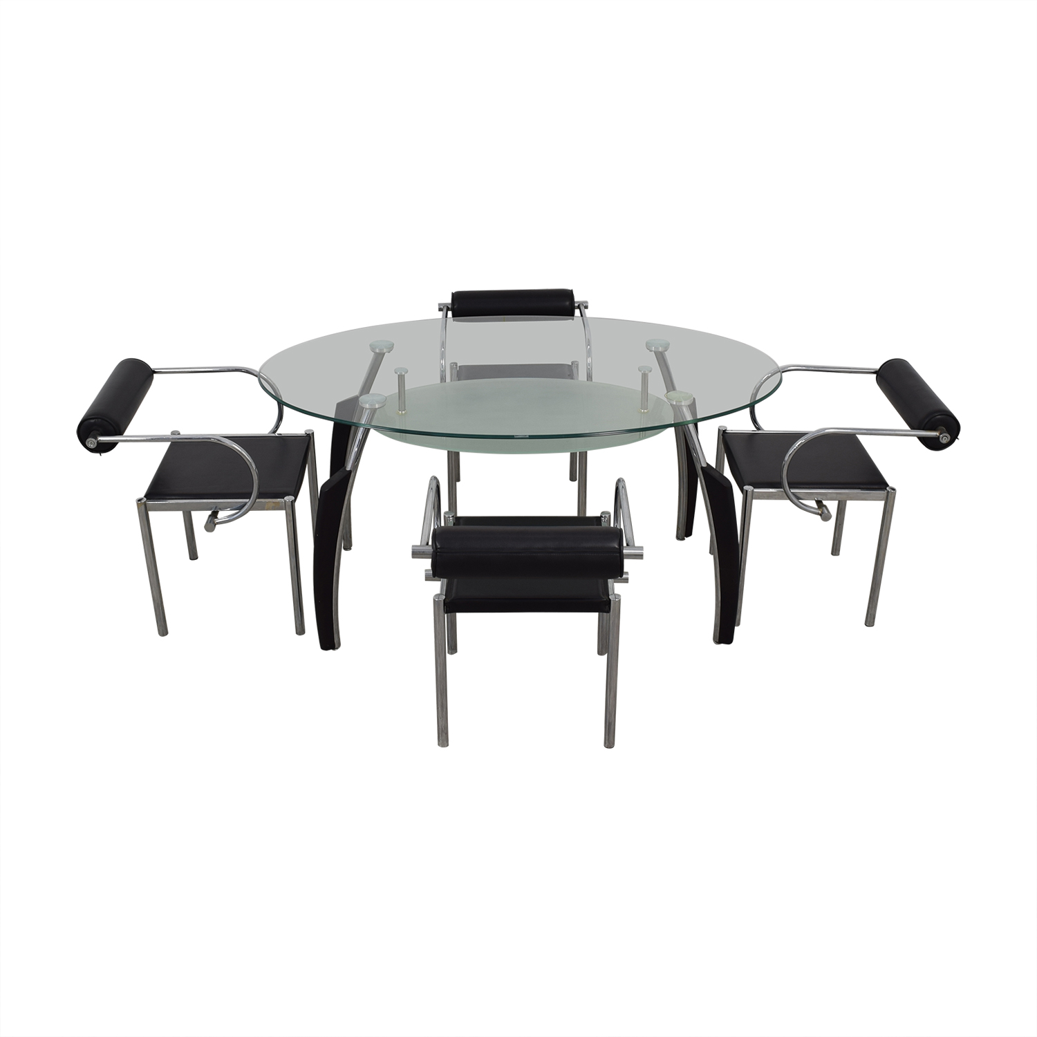 AE Furniture AE Furniture Black Glass and Chrome Dining Set used