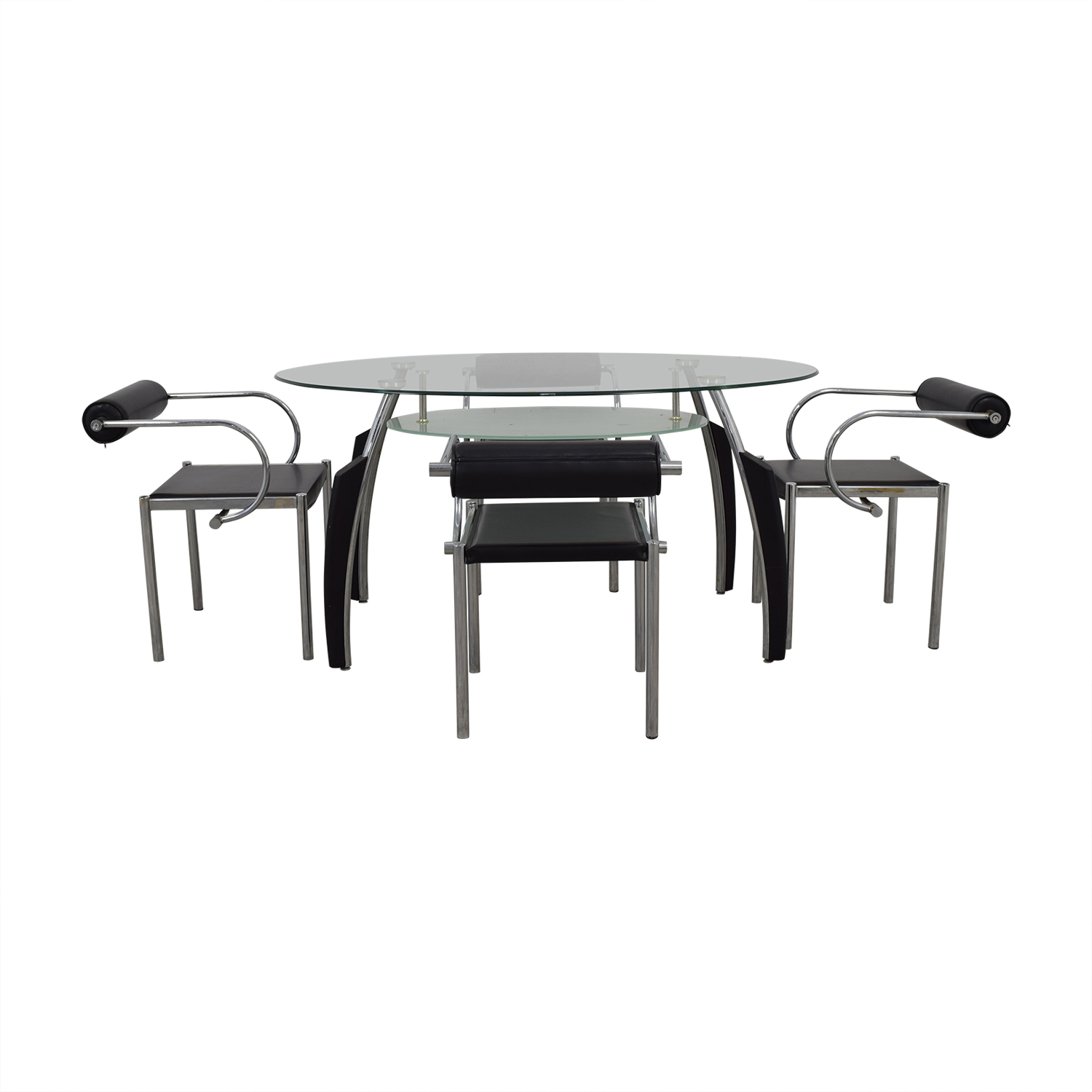 AE Furniture Black Glass and Chrome Dining Set / Dining Sets