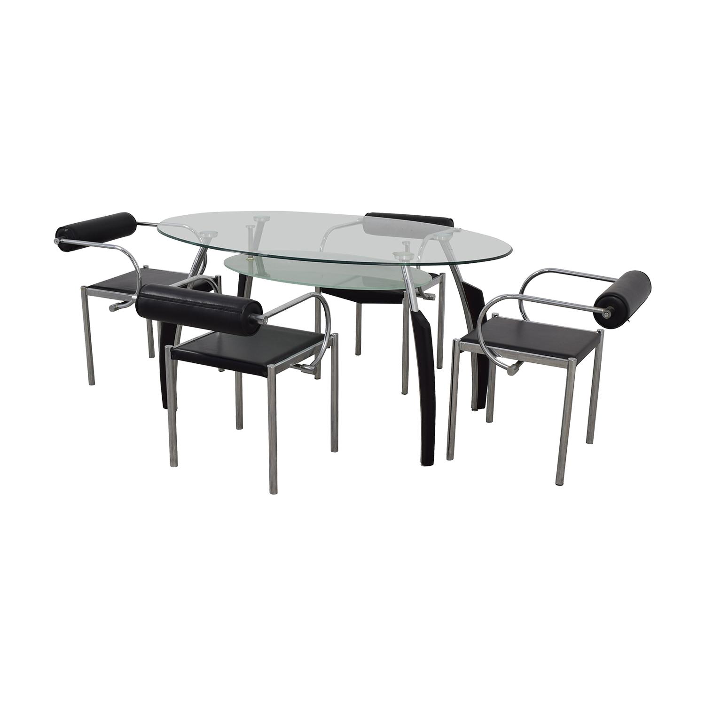 AE Furniture AE Furniture Black Glass and Chrome Dining Set on sale