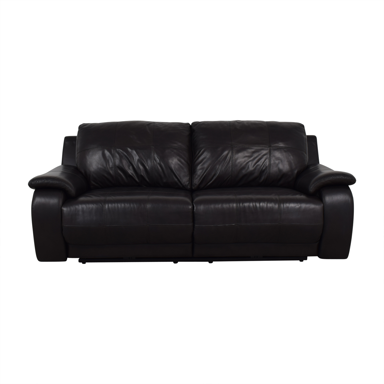 buy Raymour & Flanigan Black Two-Cushion Power Reclining Sofa Raymour & Flanigan Recliners