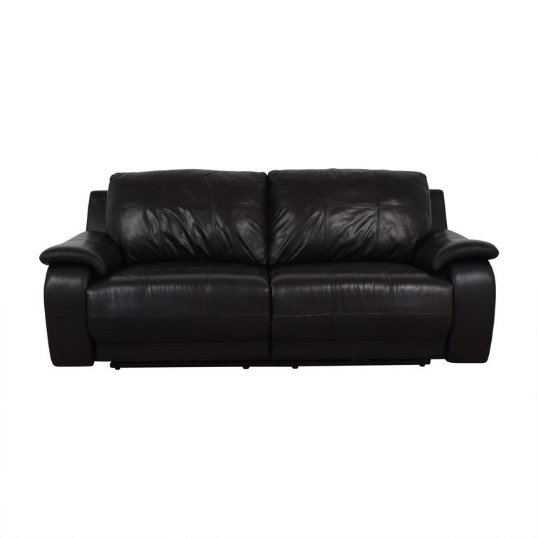 Raymour & Flanigan Black Two-Cushion Power Reclining Sofa / Chairs