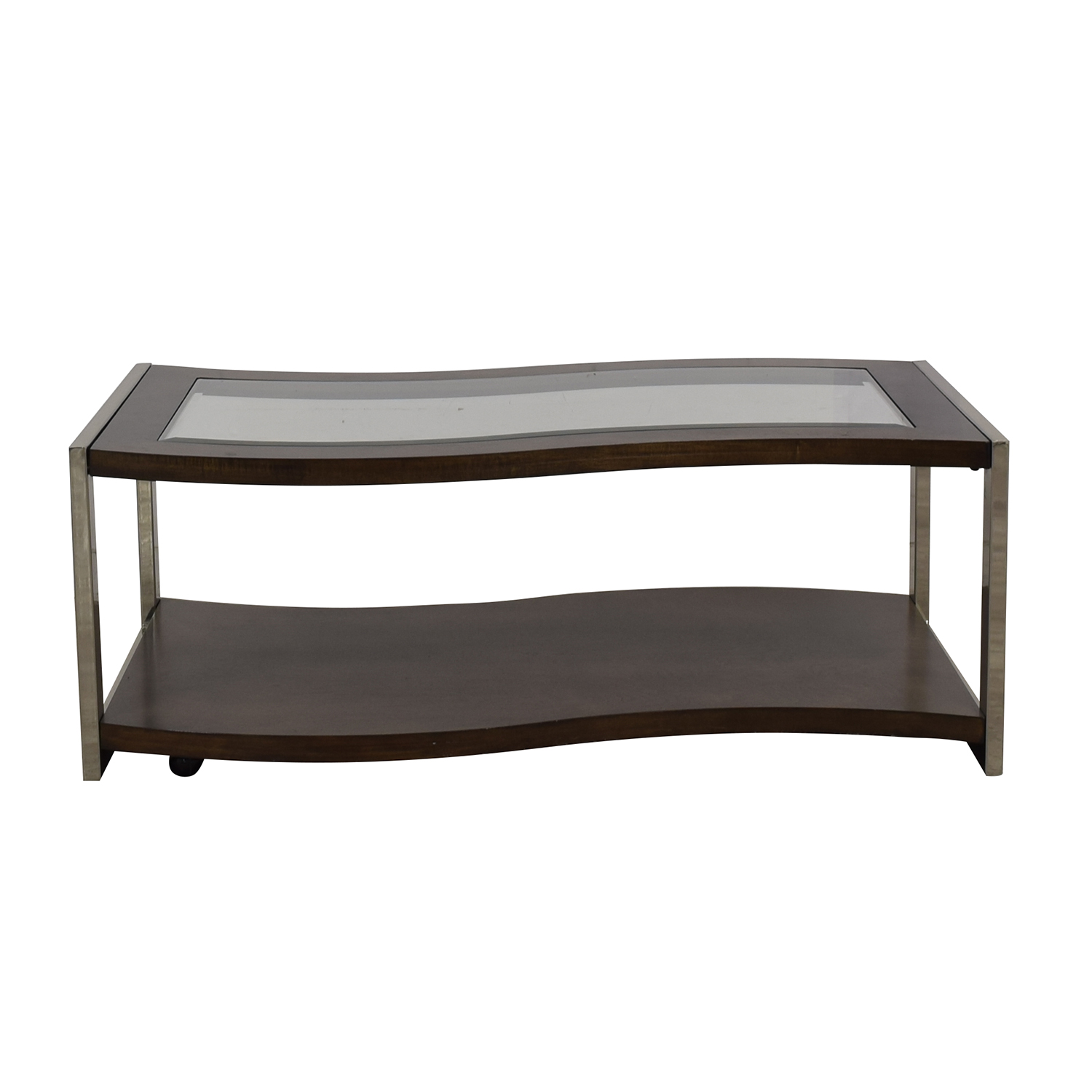 buy Raymour & Flanigan Wave Glass Wood & Chrome Coffee Table Raymour & Flanigan Sofas