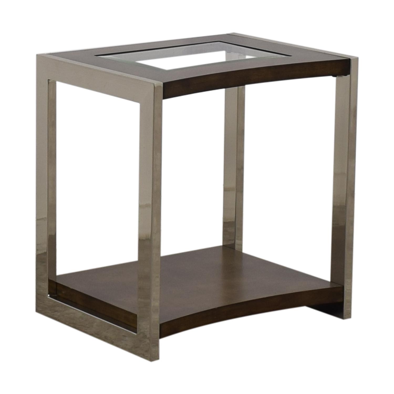 90% OFF   Raymour U0026 Flanigan Raymour U0026 Flanigan Glass Wood And Chrome End  Table / Tables