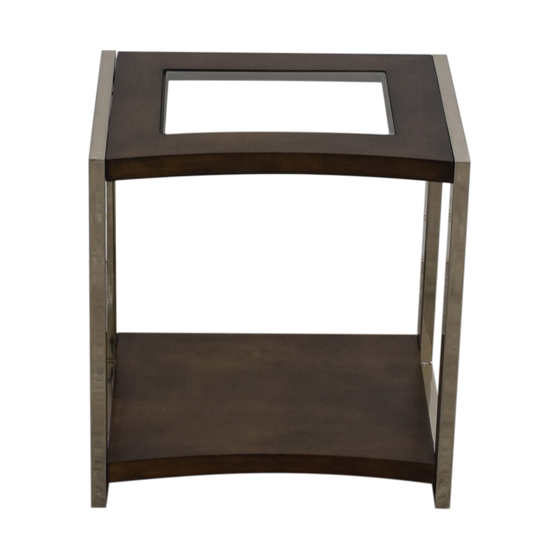 Raymour & Flanigan Glass Wood and Chrome End Table Raymour & Flanigan