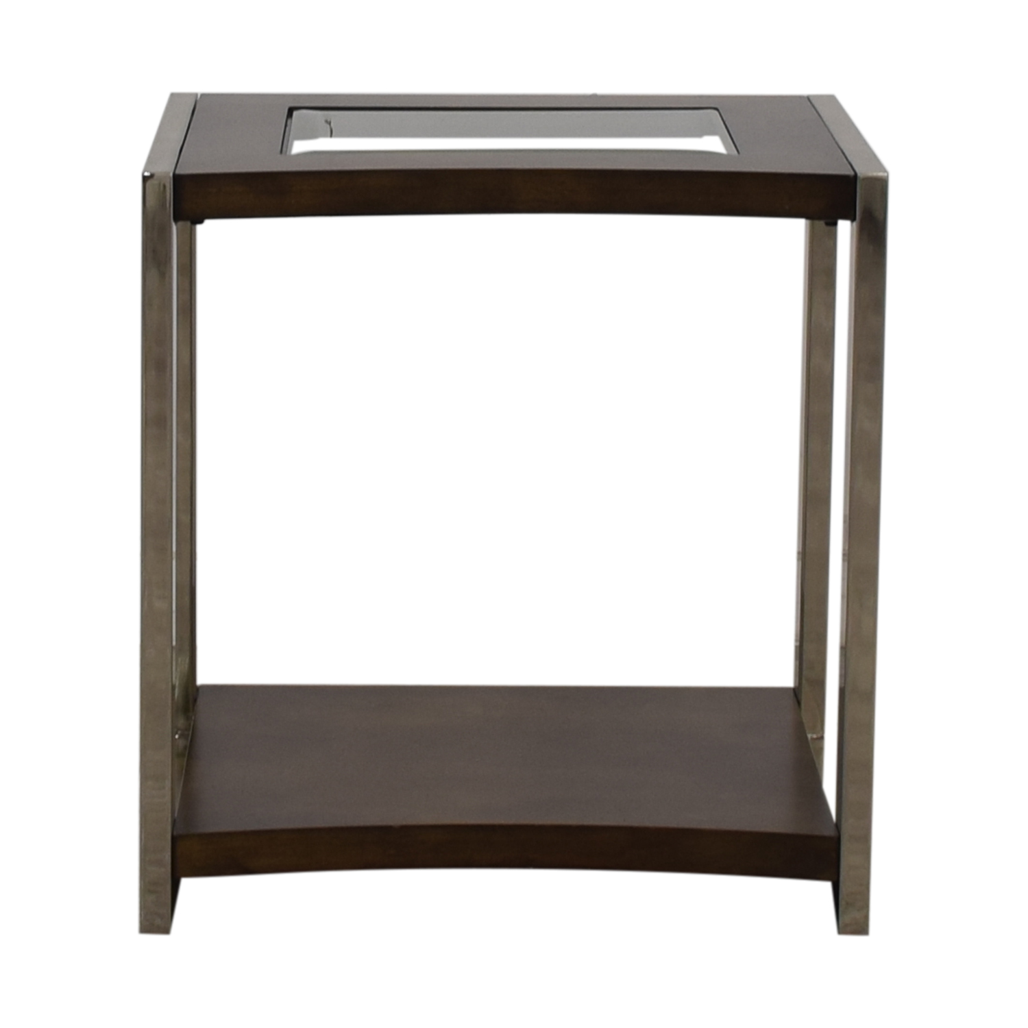 Raymour & Flanigan Raymour & Flanigan Glass Wood and Chrome End Table dimensions