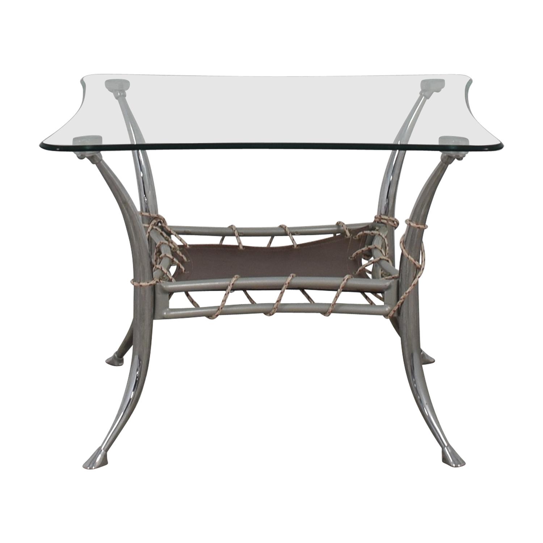 shop AE Furniture Glass and Chrome End Table AE Furniture