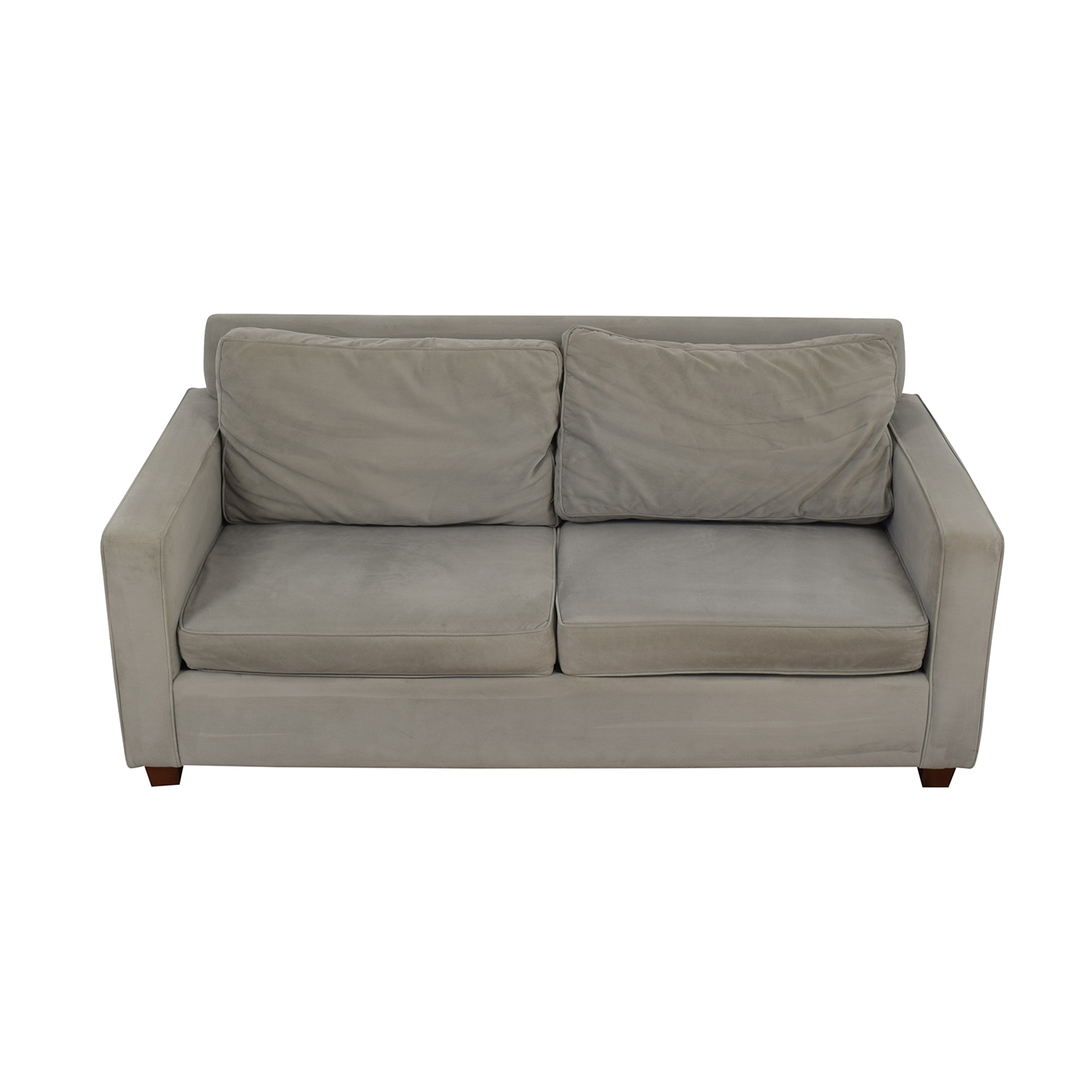 shop West Elm Henry Grey Performance Velvet Two-Cushion Sofa West Elm Sofas