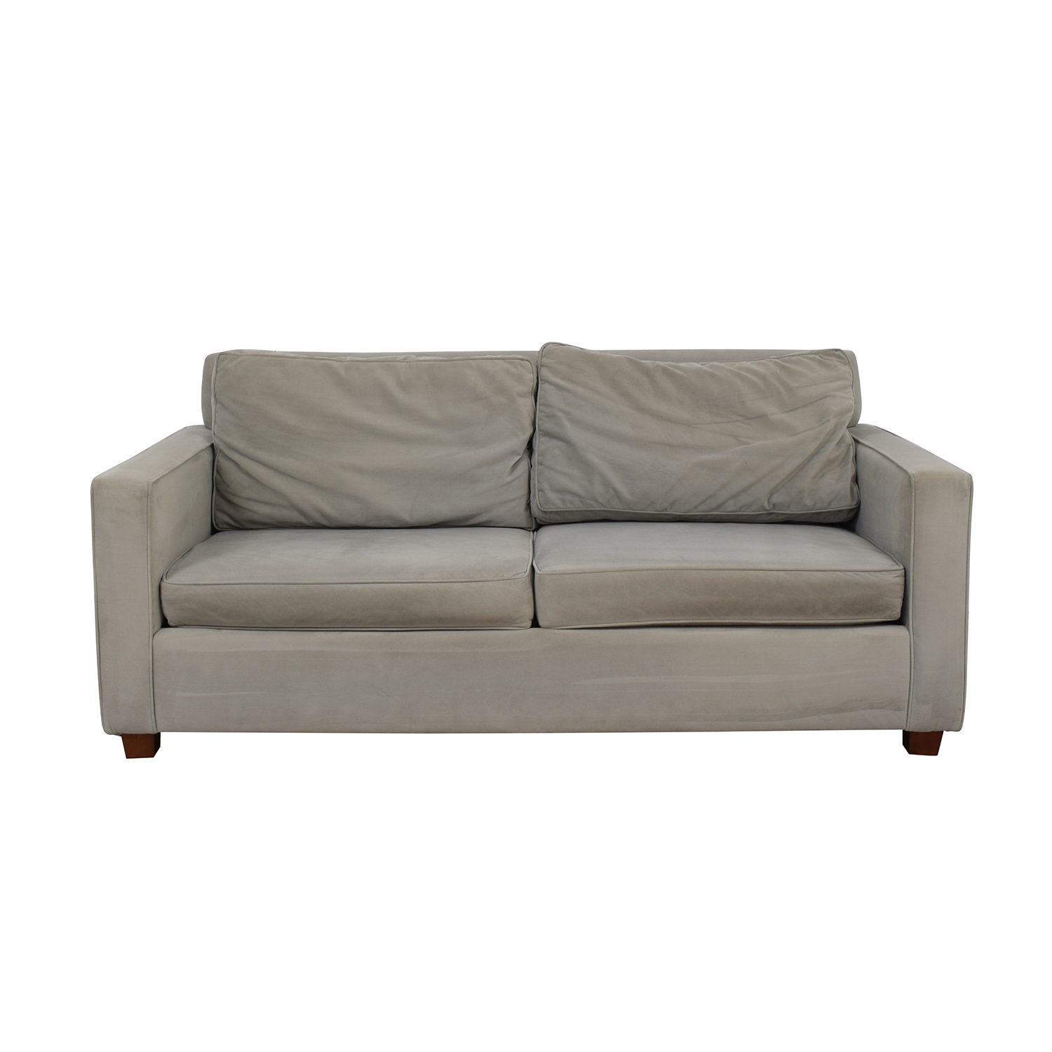 West Elm Henry Grey Performance Velvet Two-Cushion Sofa / Sofas