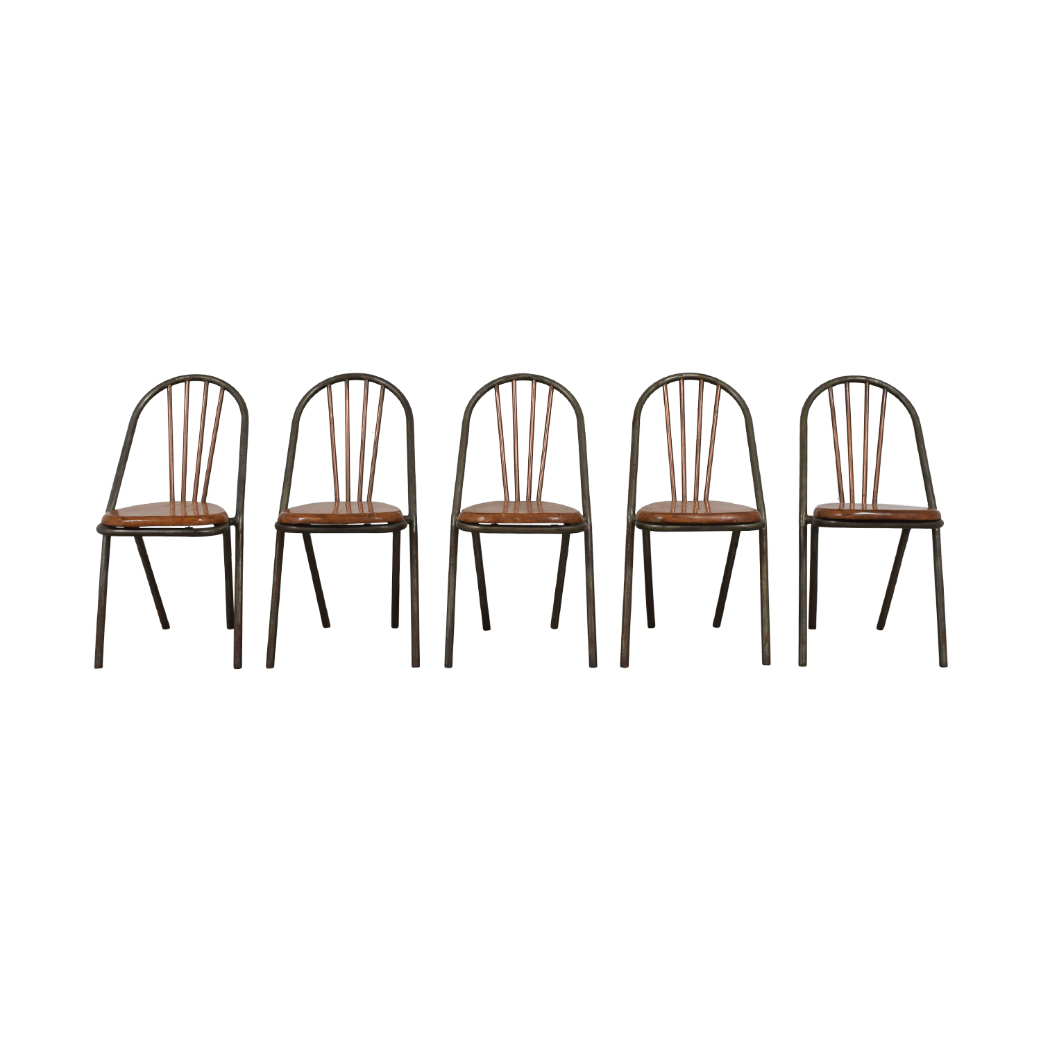 Furniture Masters Furniture Masters Wood and Metal Dining Chairs grey metal legs , dark butterscotch seat, copper back rest