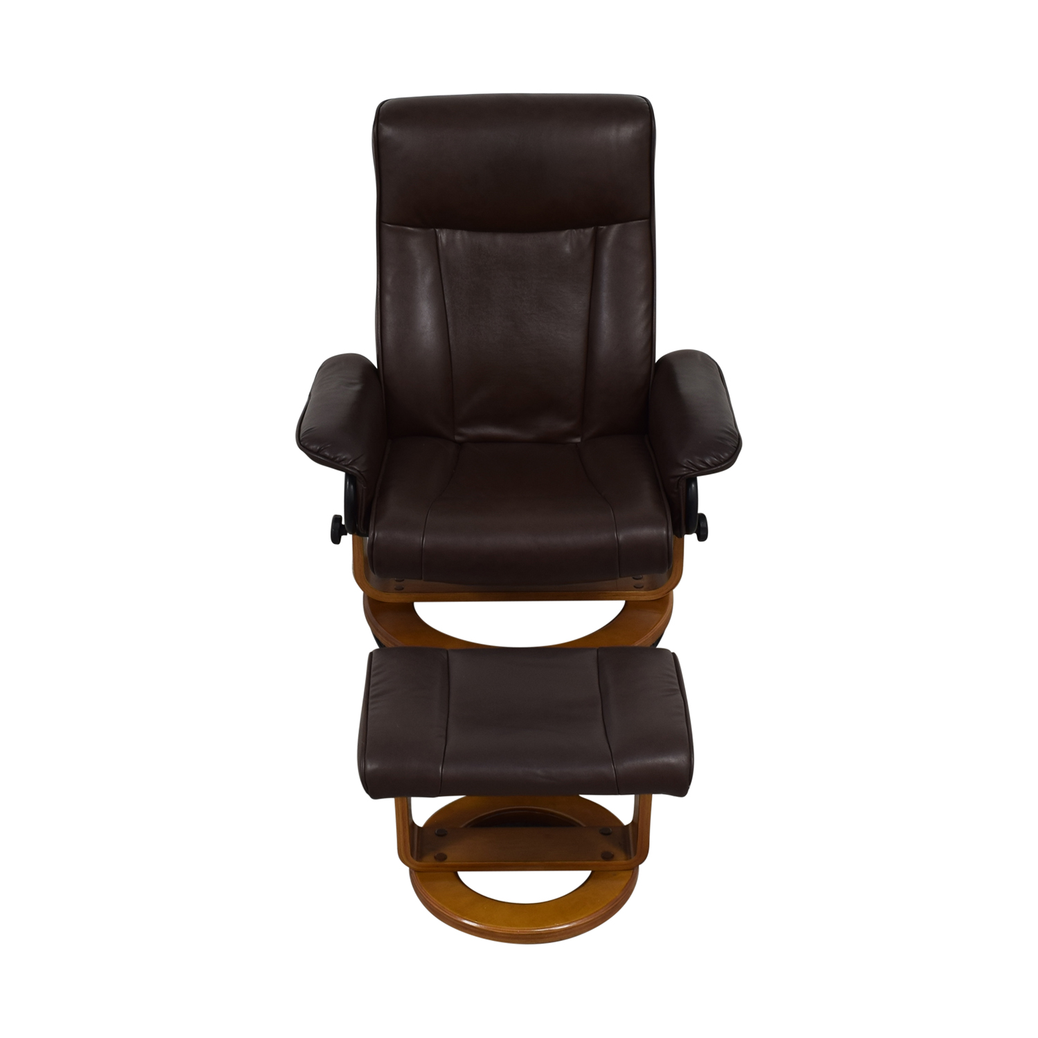 Brown Leather Recliner and Ottoman