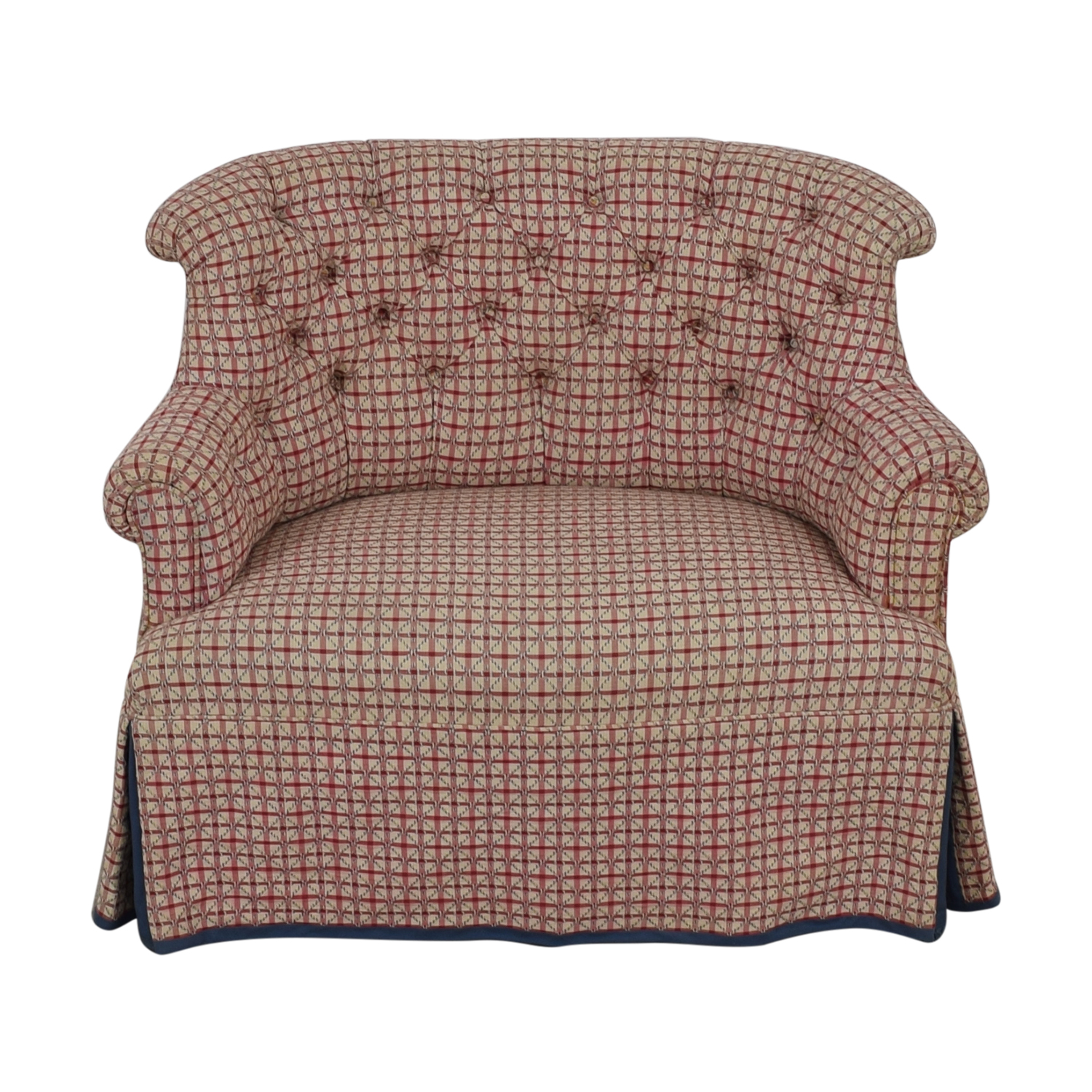 Furniture Masters Furniture Masters Red and White Plaid Tufted Accent Chair on sale
