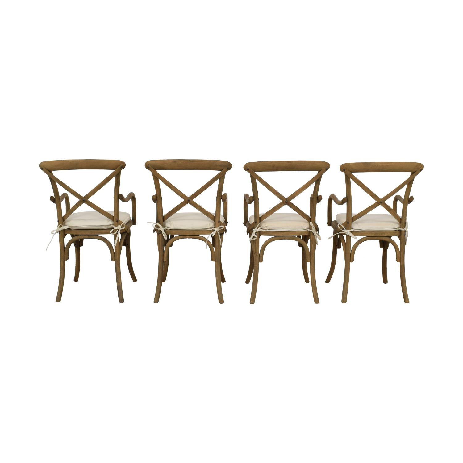 Restoration Hardware Restoration Hardware Madeleine Armchairs Rustic Natural with White Cushions second hand