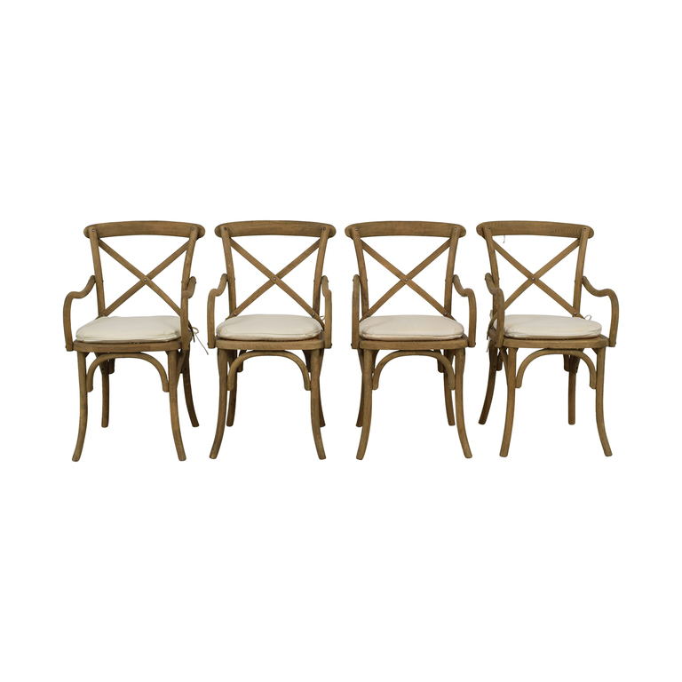 Restoration Hardware Restoration Hardware Madeleine Armchairs Rustic Natural with White Cushions on sale