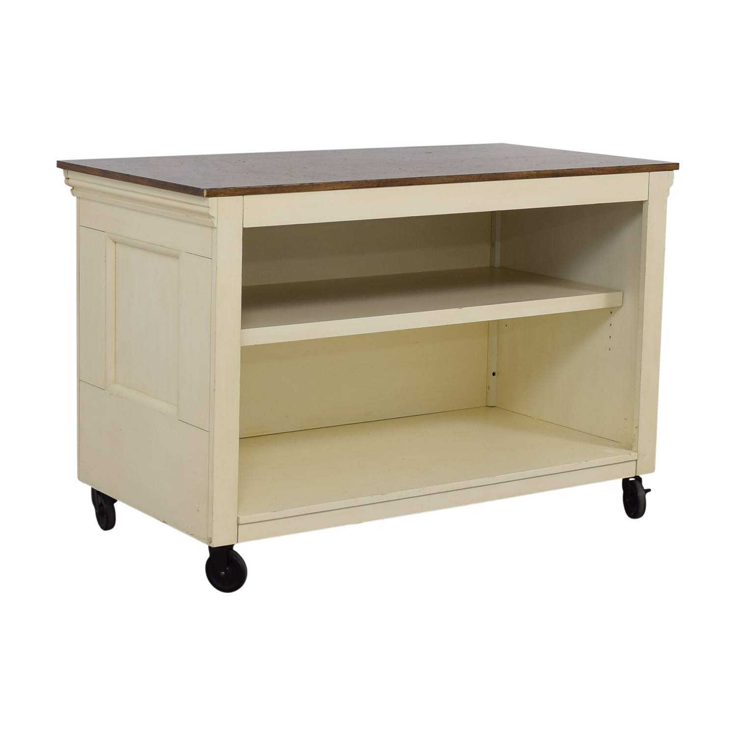 Pottery Barn Wood Top White Buffet / Utility Tables