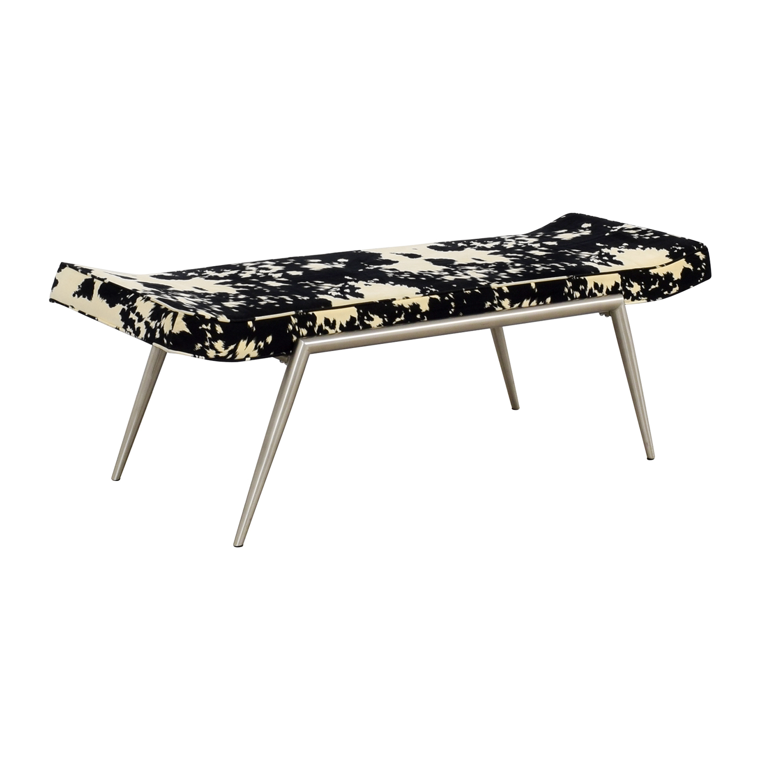 Black and White Upholstered Bench second hand