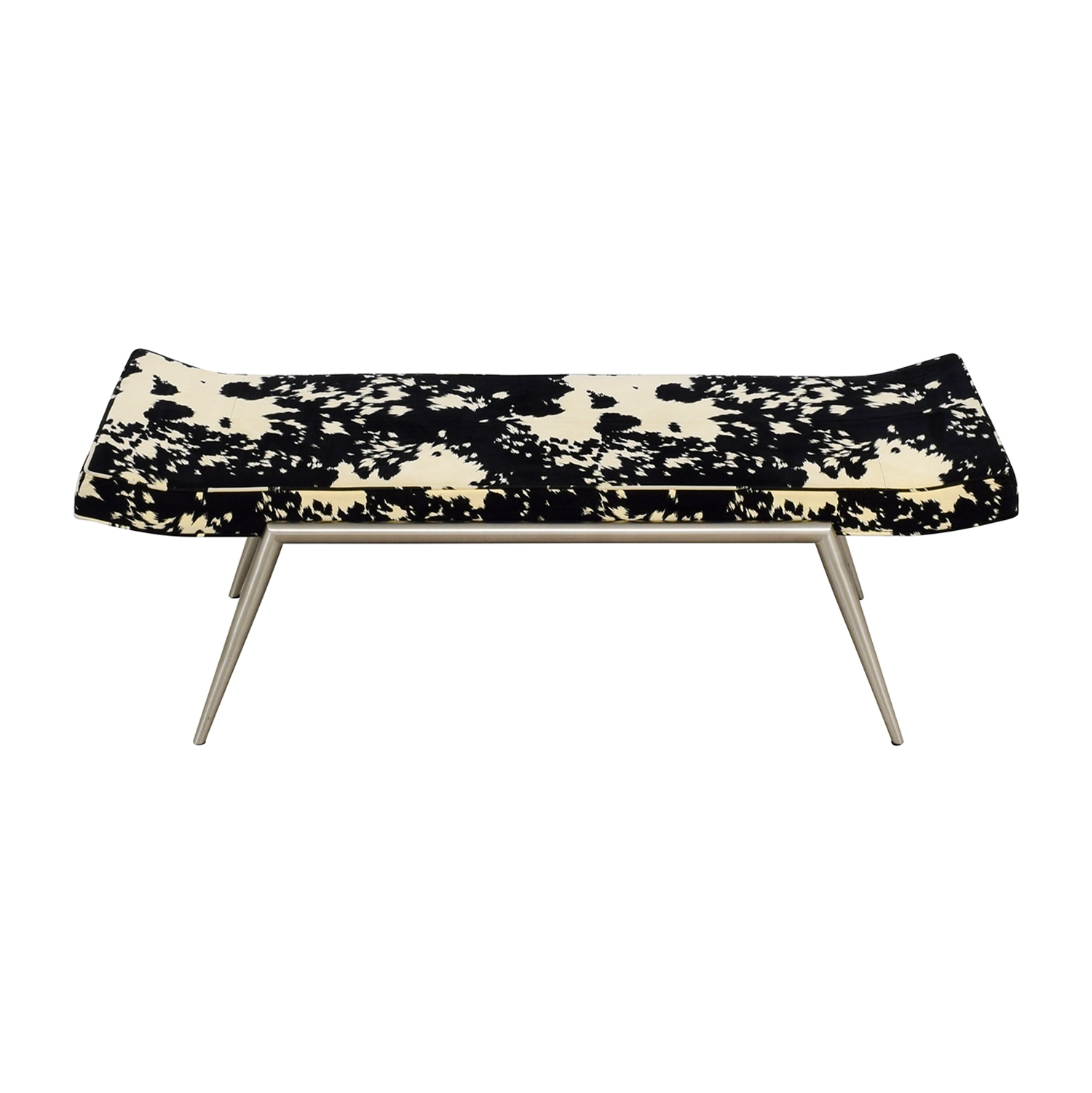 Black and White Upholstered Bench on sale