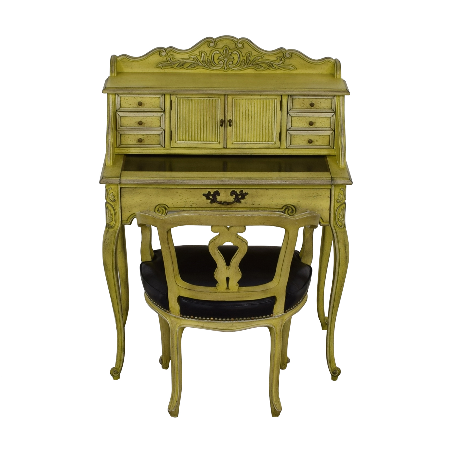 French Provincial Mustard Secretary Desk And Chair For