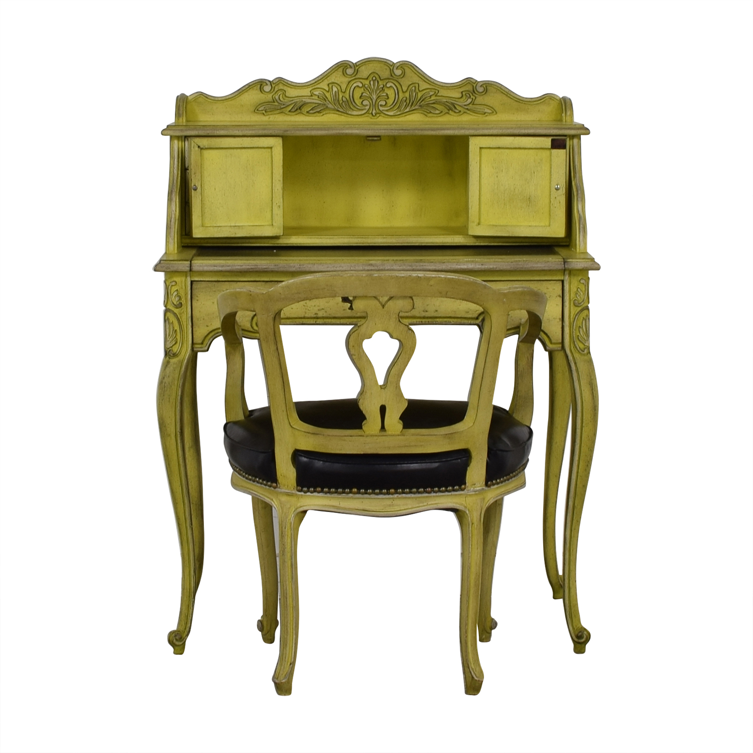 French Provincial Mustard Secretary Desk and Chair / Sofas