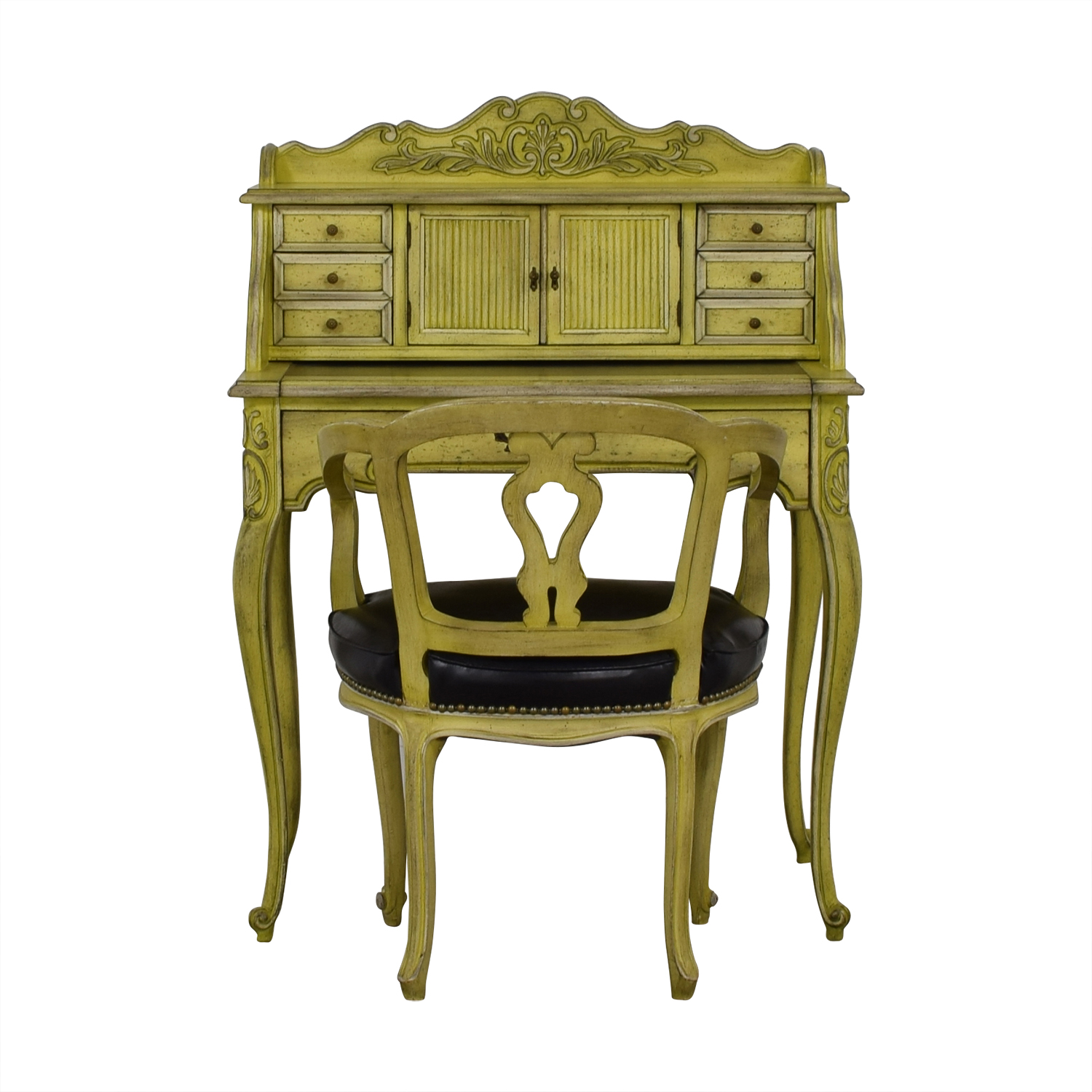 French Provincial Mustard Secretary Desk and Chair Tables