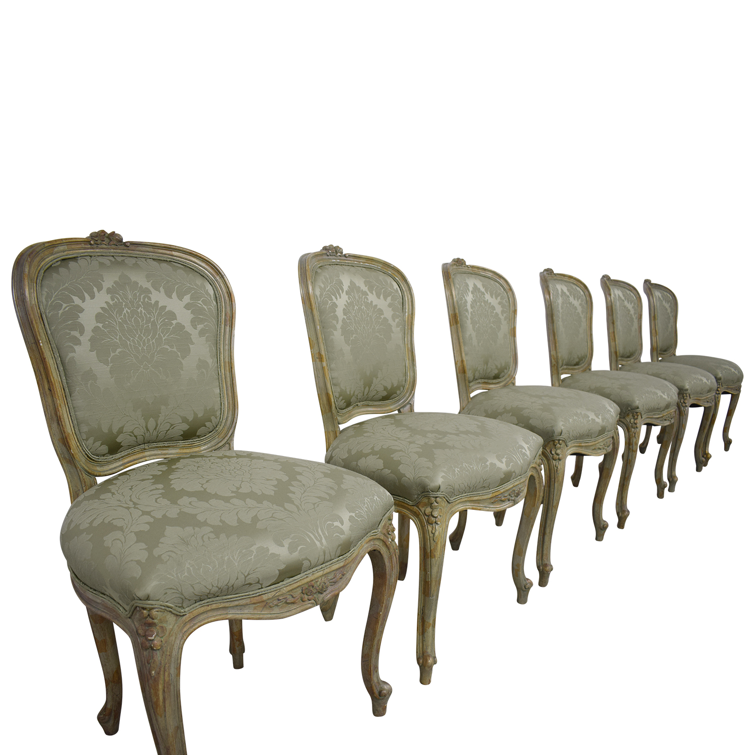 90 Off Devon Shops Devon Shop French Celery Damask Upholstered Dining Chairs Chairs