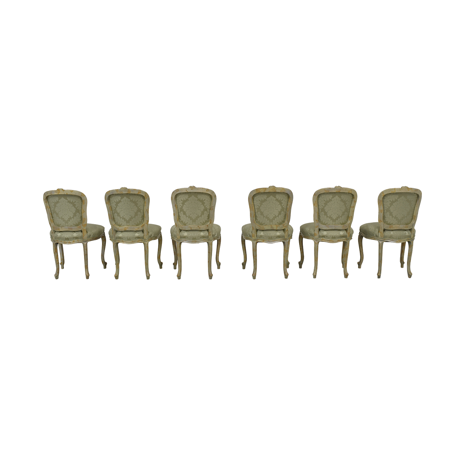Devon Shop Devon Shop French Celery Damask Upholstered Dining  Chairs Sofas