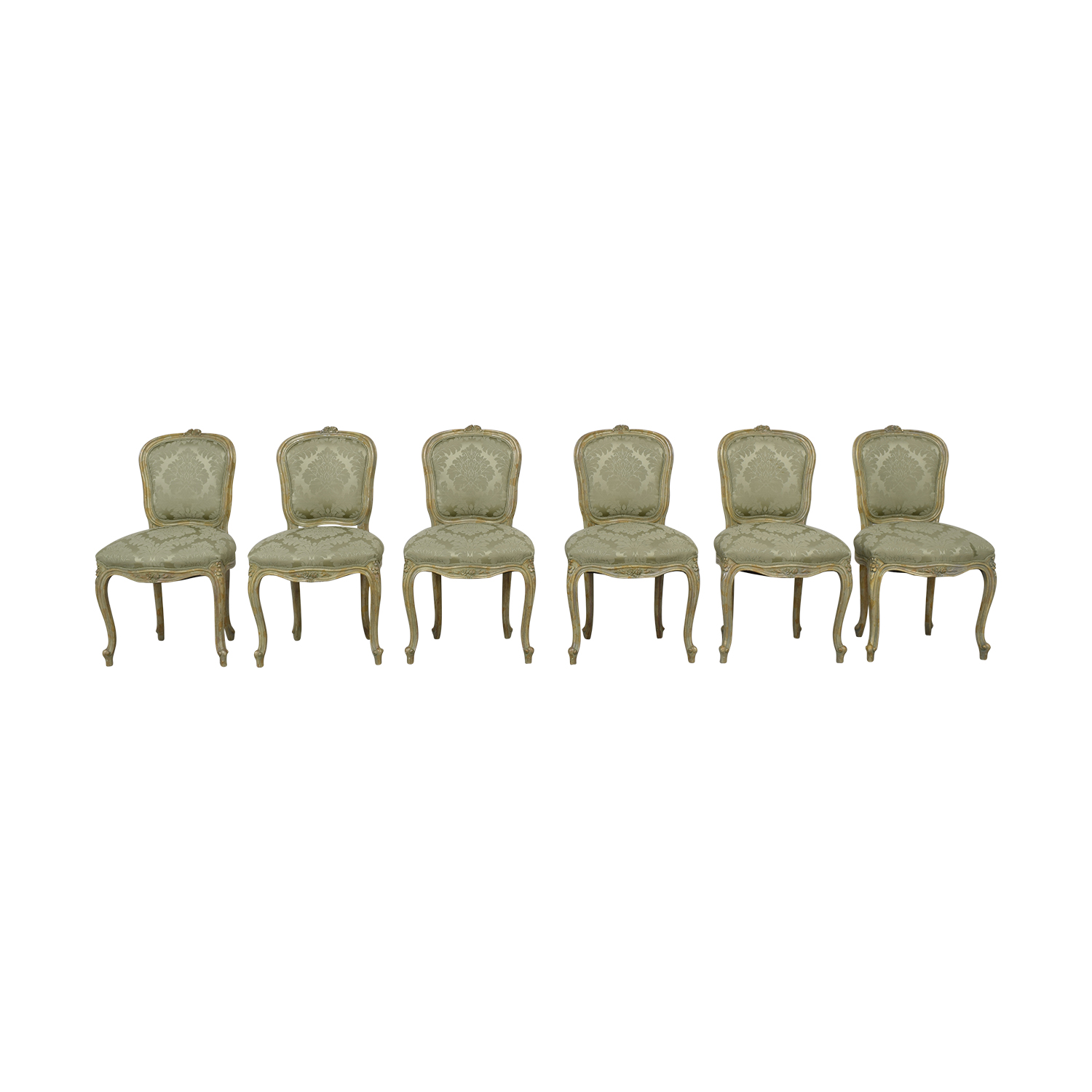 buy Devon Shop French Celery Damask Upholstered Dining  Chairs Devon Shop