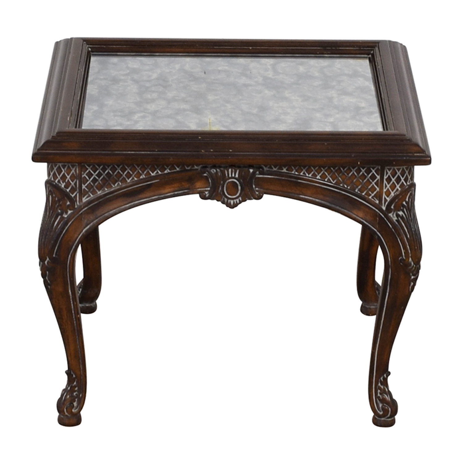 90% OFF   Antique Mirrored Ebony Wood Carved Side Table / Tables