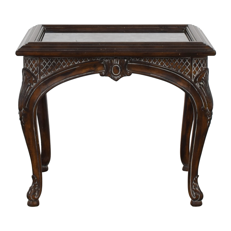 Antique Mirrored Ebony Wood Carved Side Table