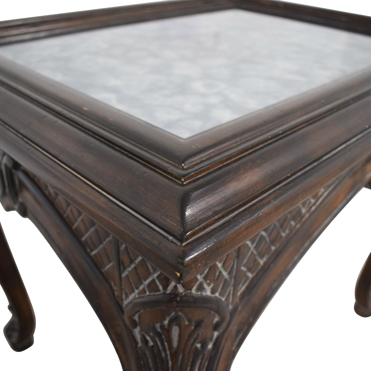 90 Off Antique Mirrored Ebony Wood Carved Side Table Tables