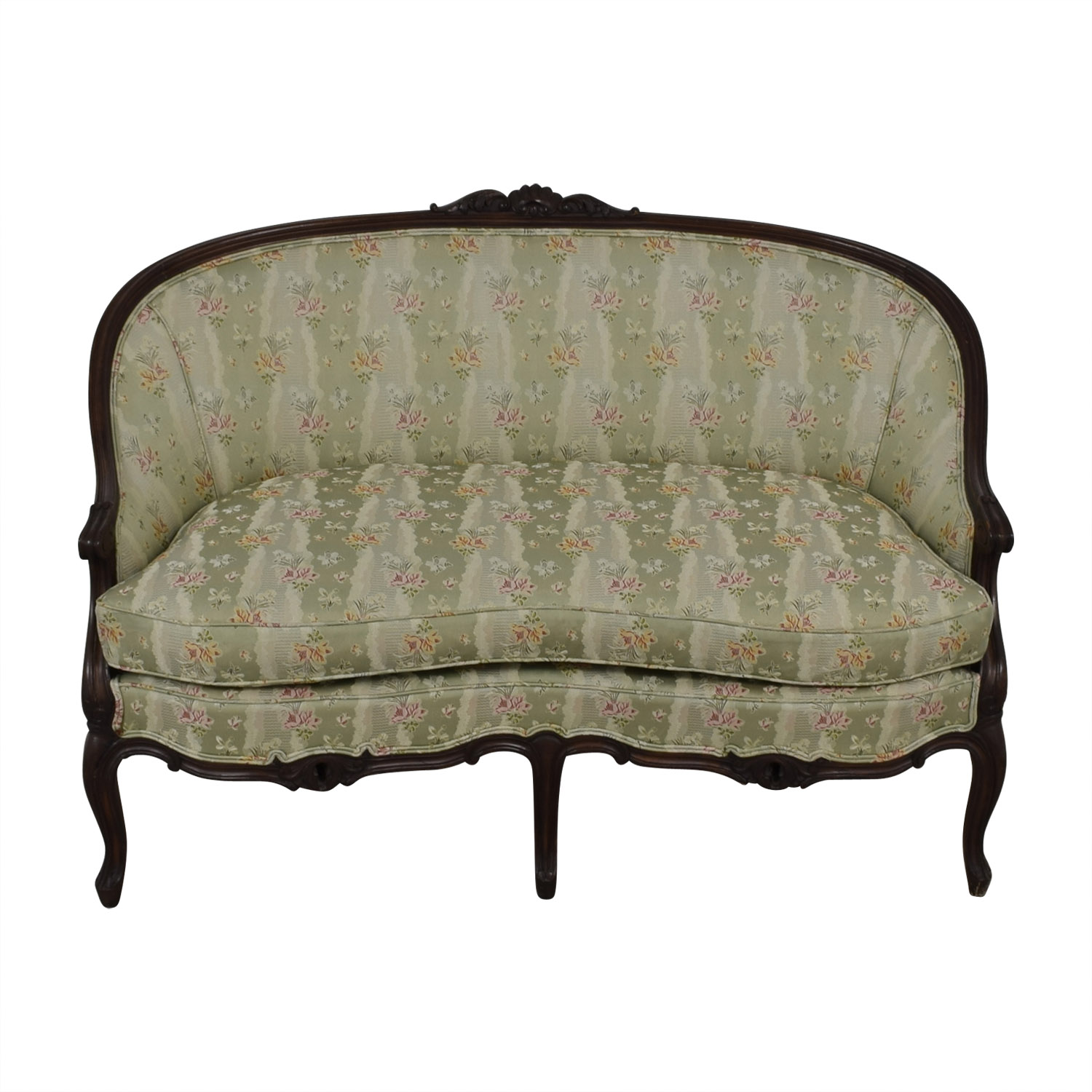 Antique French Floral Upholstered Single Cushion Loveseat