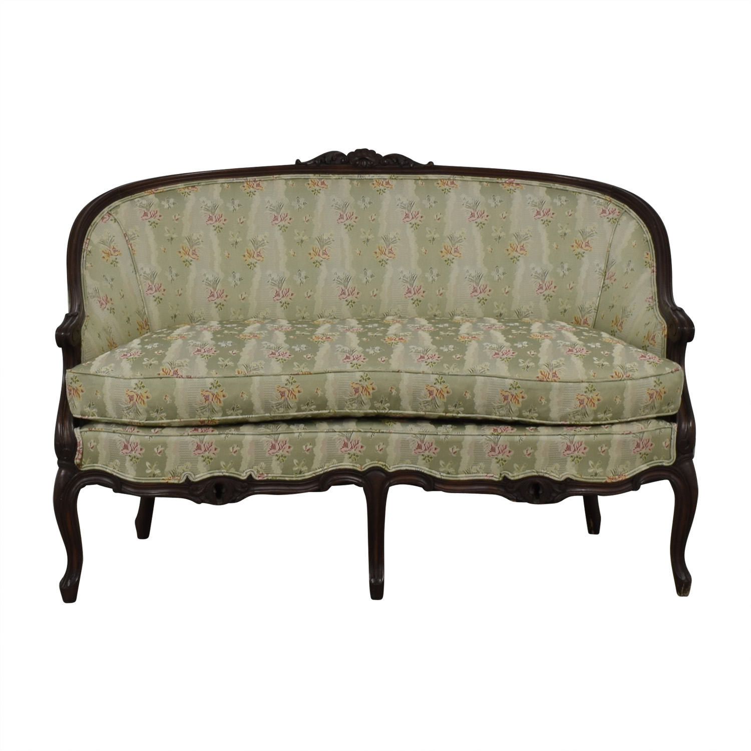 Antique French Floral Upholstered Single Cushion Loveseat second hand