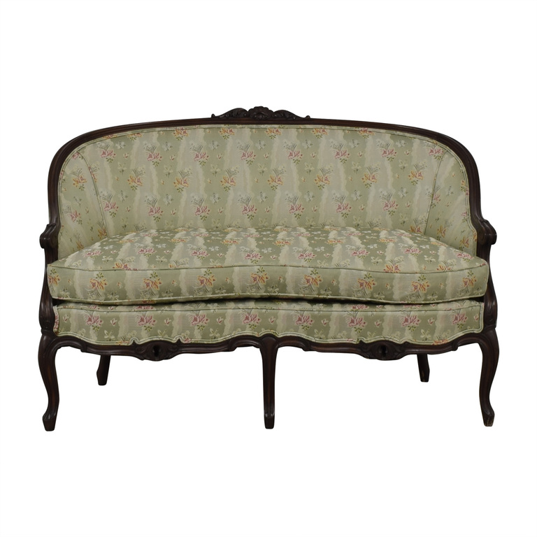 Antique French Floral Upholstered Single Cushion Loveseat nj