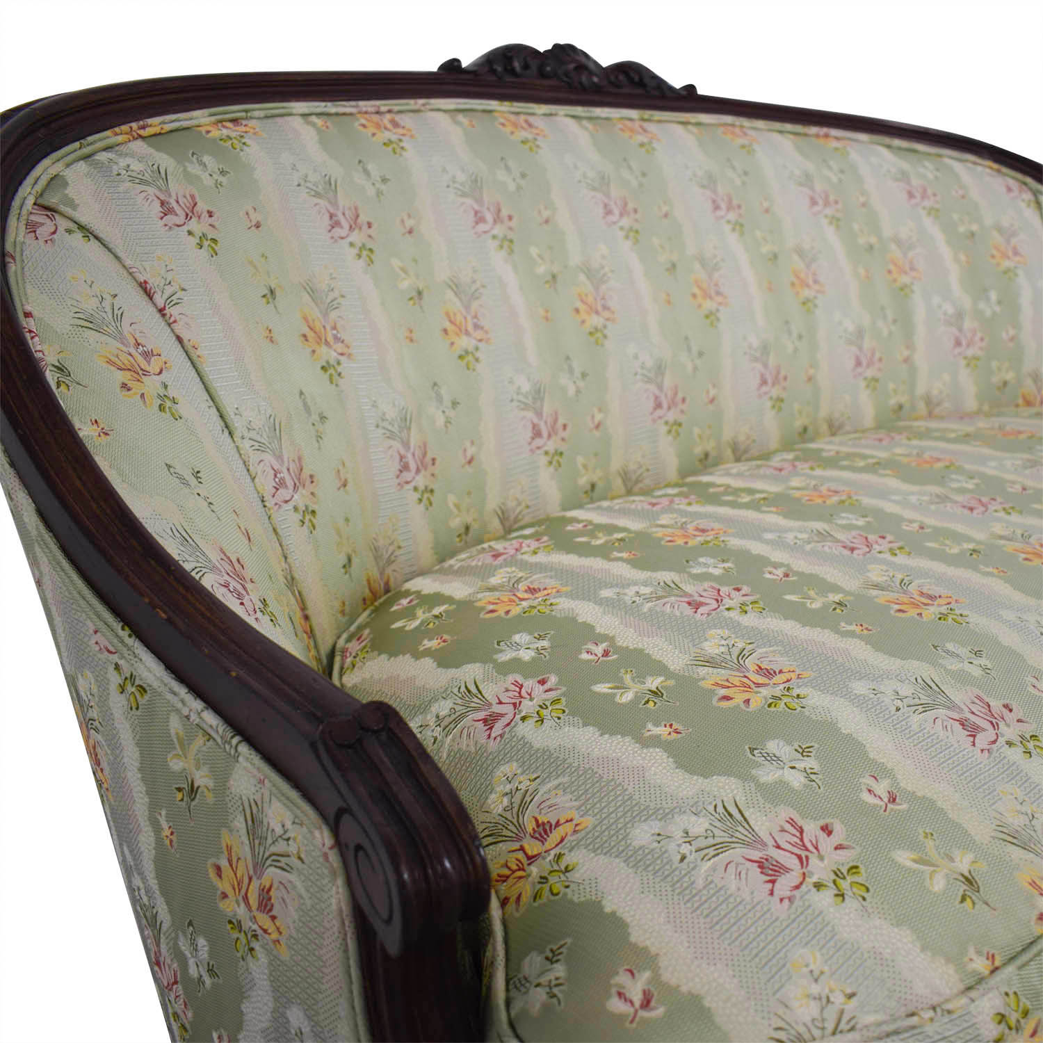 Antique French Floral Upholstered Single Cushion Loveseat sale
