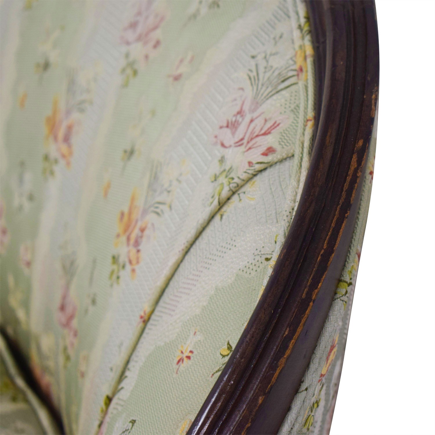 Antique French Floral Upholstered Single Cushion Loveseat green and rose