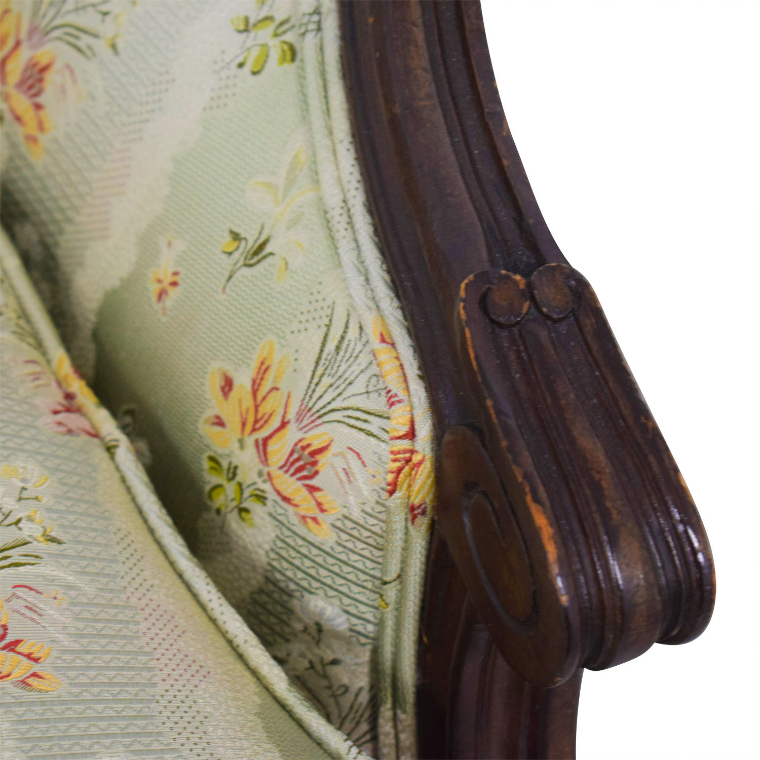 Antique French Floral Upholstered Single Cushion Loveseat Sofas