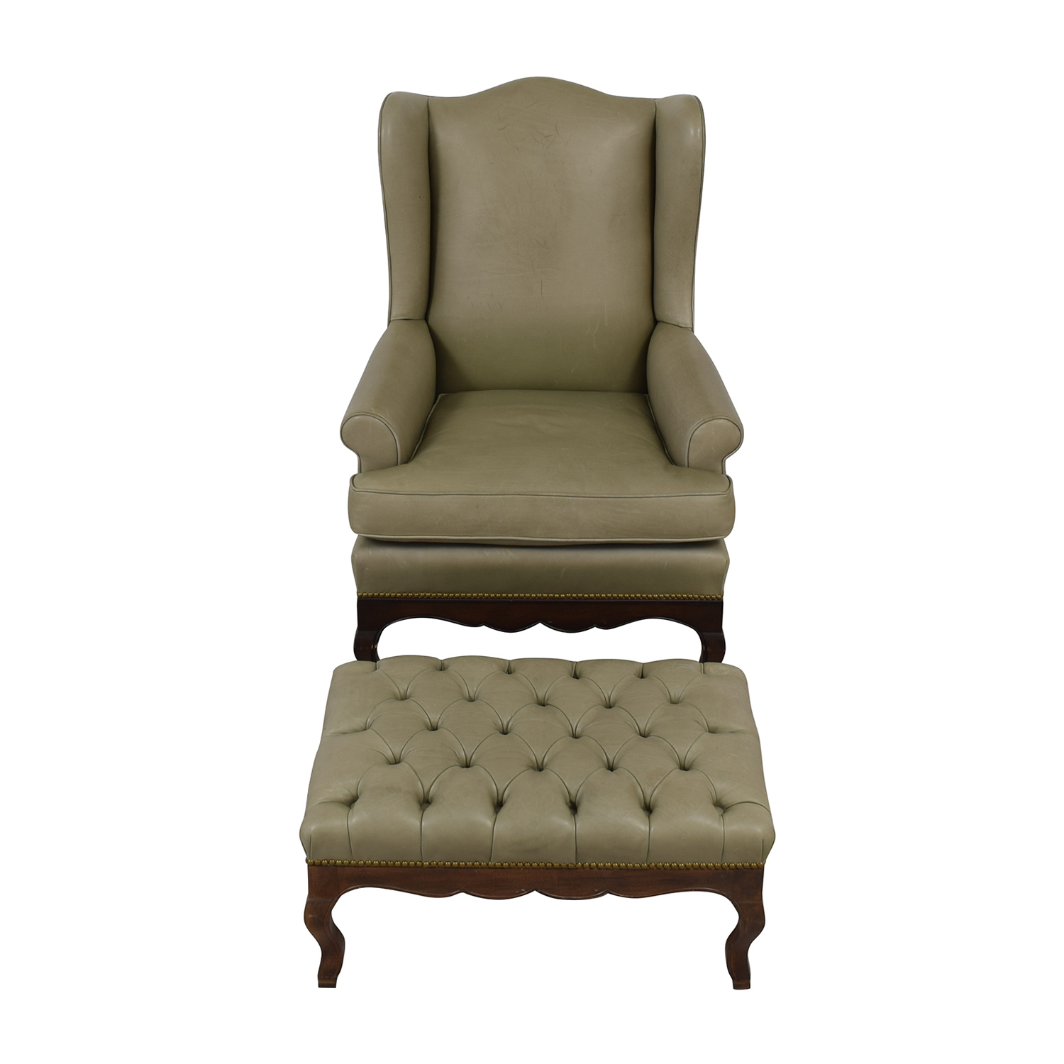 Green Leather Wing Back Chair with Tufted Ottoman used