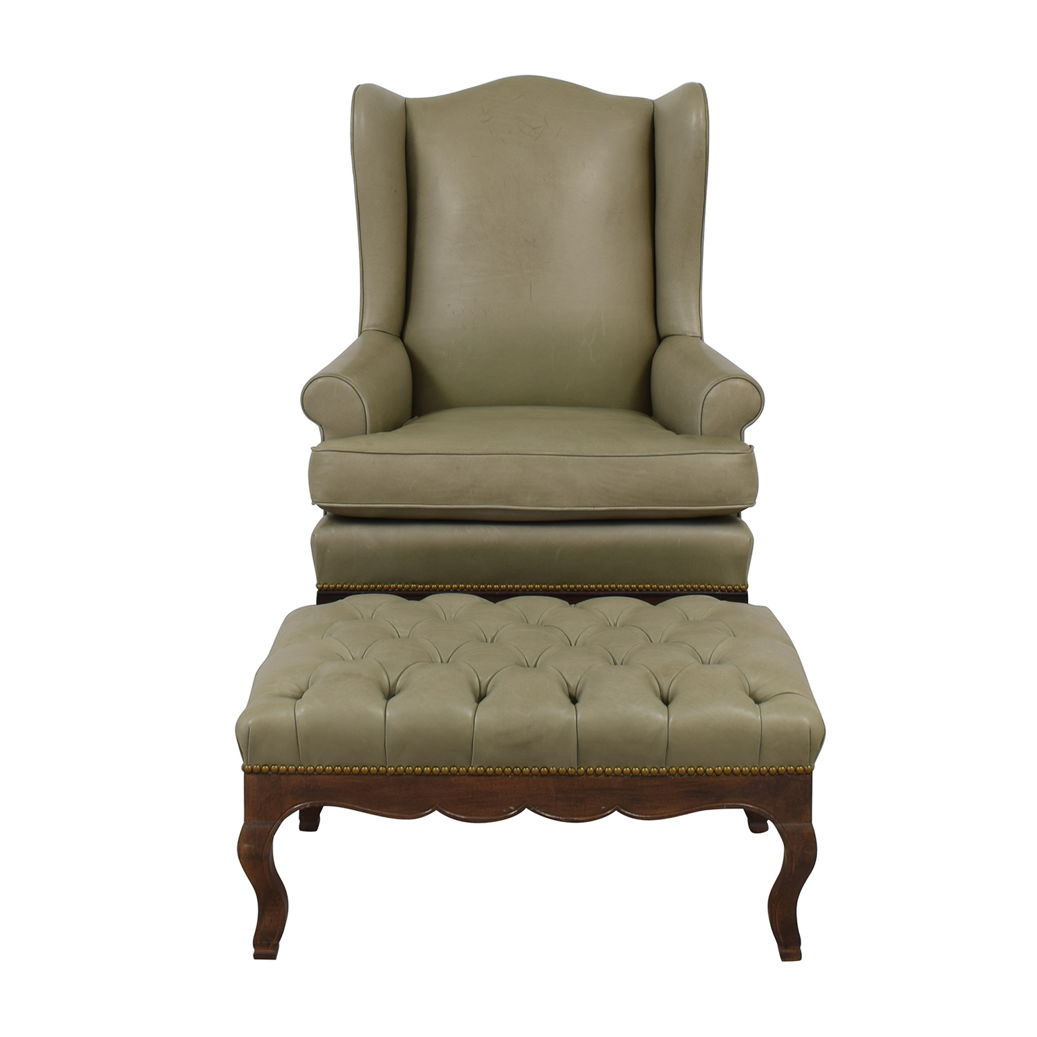 shop Green Leather Wing Back Chair with Tufted Ottoman