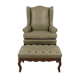 shop  Green Leather Wing Back Chair with Tufted Ottoman online